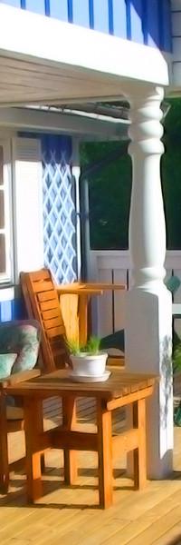 Genießen Sie den Sonnenuntergang auf der Terrasse des Ferienhauses